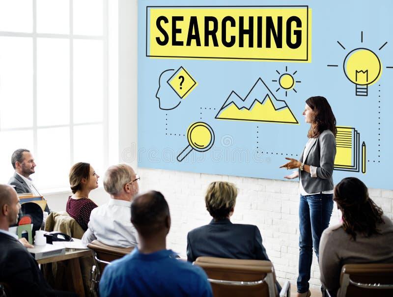 Erforschen Sie Forscher-Research Searching Study-Konzept lizenzfreie stockbilder