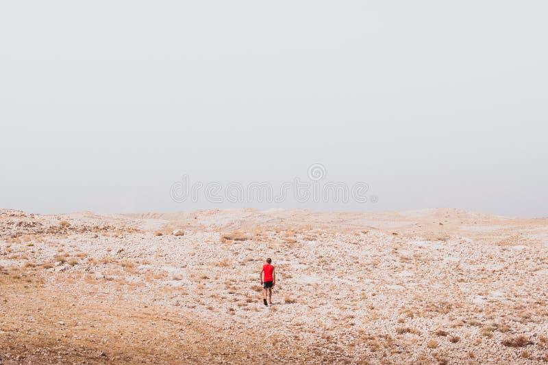 Erforschung - einsames menschliches Gehen in Konzepte einer Steinwüstefreiheit und des Abenteuerlebensstils und -sports lizenzfreie stockfotos