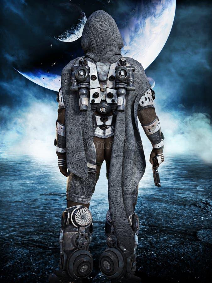 Erforschung, Raummarineastronaut, der neue Welten erforscht lizenzfreies stockfoto