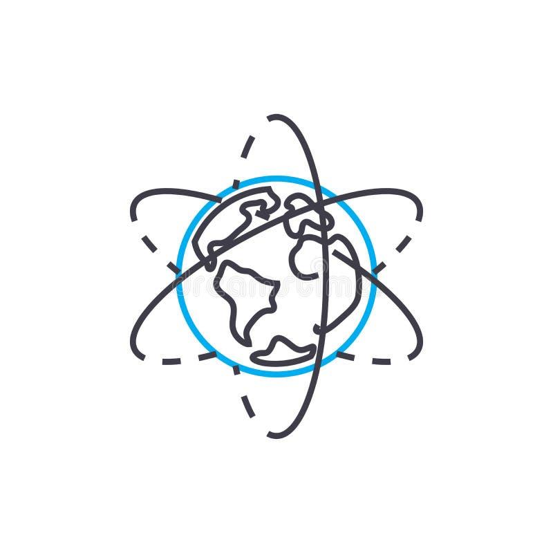 Erforschungslineares Ikonenkonzept der geographie Erforschungsgeographie zeichnen Vektorzeichen, Symbol, Illustration stock abbildung