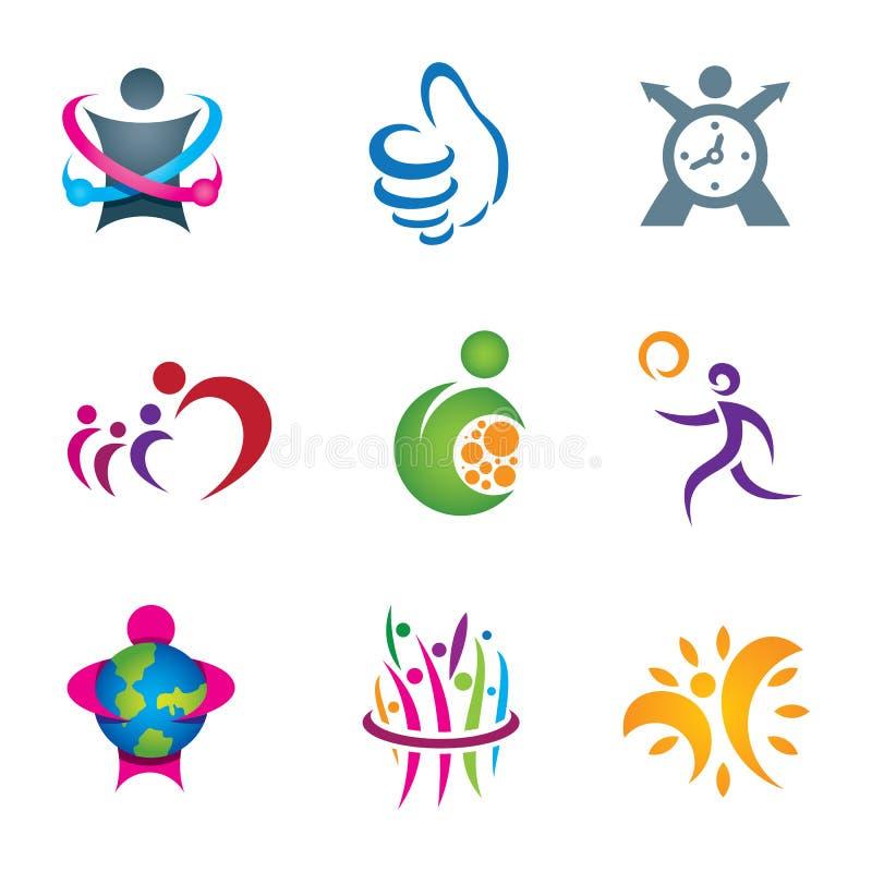 Erforschungsund lebendes glückliches gesundes Leben der positiven Sozialleute vektor abbildung