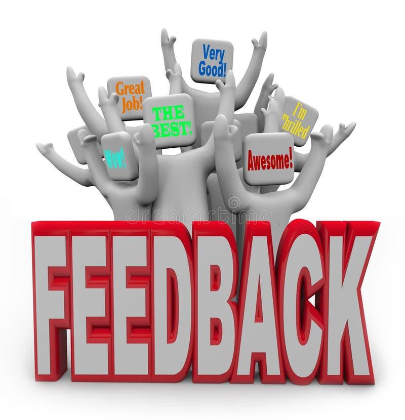 Erfreute Leute der zufriedenen Kunden, die positives Feedback geben lizenzfreie abbildung