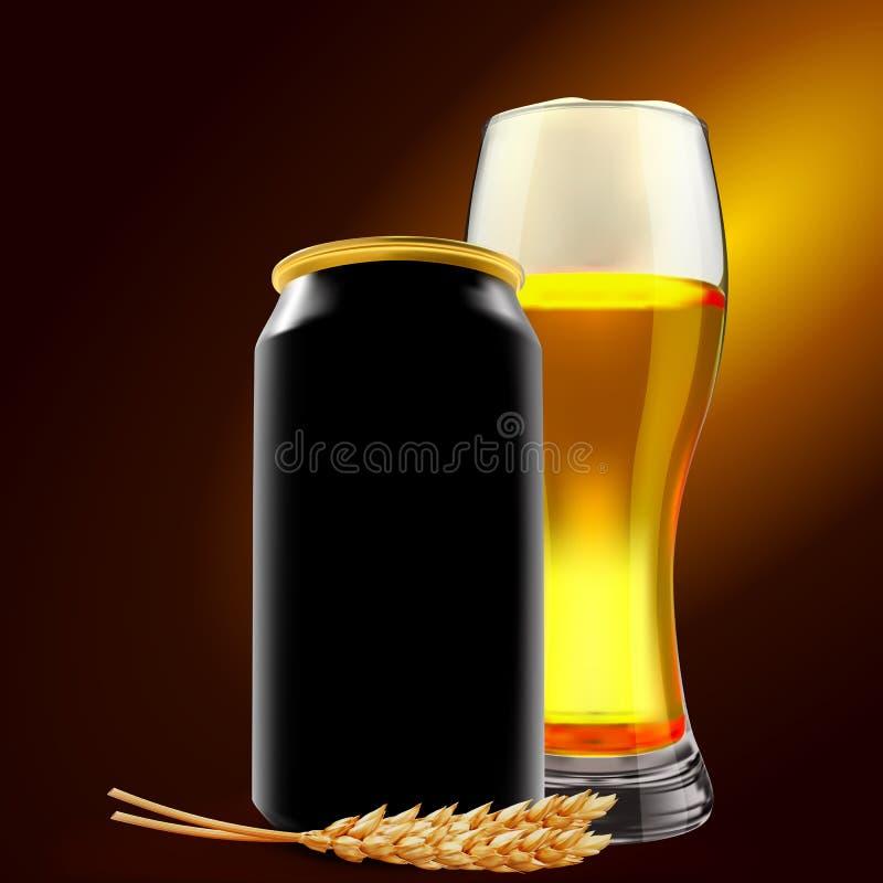 Erfrischendes Bier in Aluminiumdose und Glas mit Weizenelementen Realistische 3D-Abbildung Weißbier-Konzept lizenzfreie stockfotos