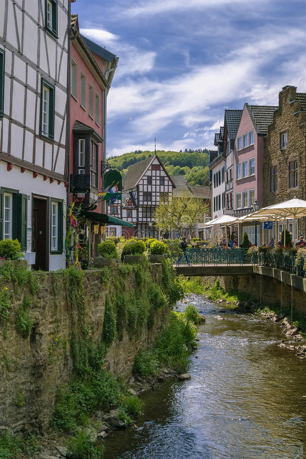 Erftrivier in Slechte Munstereifel, Duitsland stock afbeeldingen
