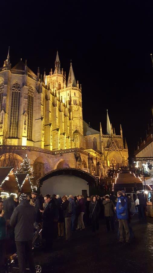 Erfurt Dom Weihnachtsmarkt fotografie stock
