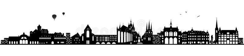 Erfurt Germany linii horyzontu czerń odizolowywający ilustracji