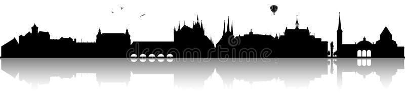 Erfurt Germany linii horyzontu sylwetki czerń odizolowywający ilustracja wektor