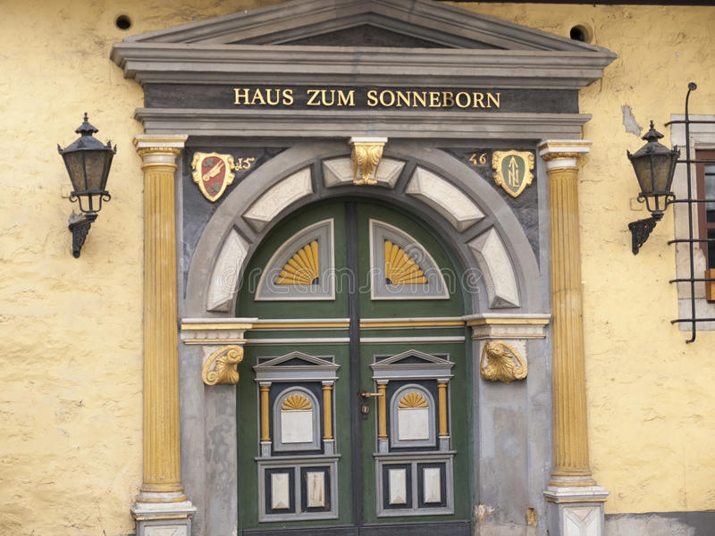 Erfurt, Germany. Magnificent portal of wedding house in Erfurt in Germany stock image