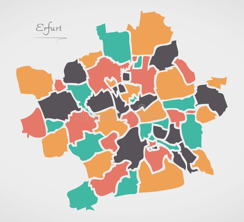 Erfurt Map with boroughs and modern round shapes. Illustration royalty free illustration