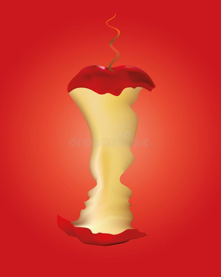 Erfzondeconcept - Adam en Vooravond met gebeten appel en slang op rode achtergrond stock illustratie
