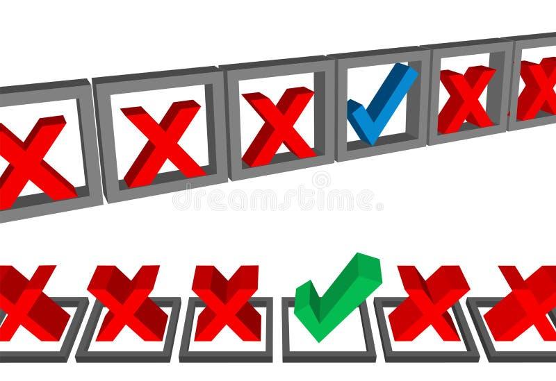 Ergänzen Sie auserlesene Sets der Formularkasten-Checkmarkierungs-Abstimmung vektor abbildung