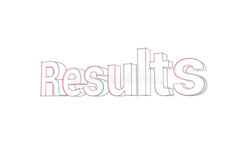 Ergebnisse - Illustration des Textes 3D - Wörter mit farbigen Linien Tilde und Orange auf Weiß vektor abbildung