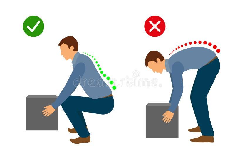 Ergonómico - postura correcta para levantar un objeto pesado stock de ilustración