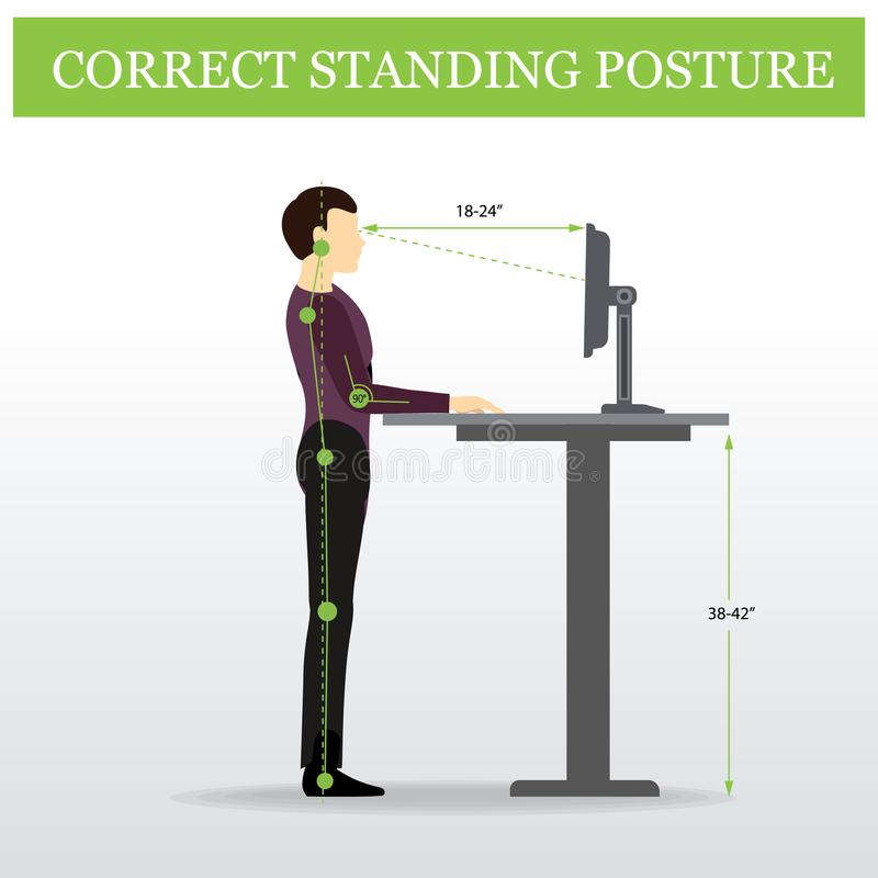 ergonómico Postura derecha correcta y tabla ajustable de la altura ilustración del vector