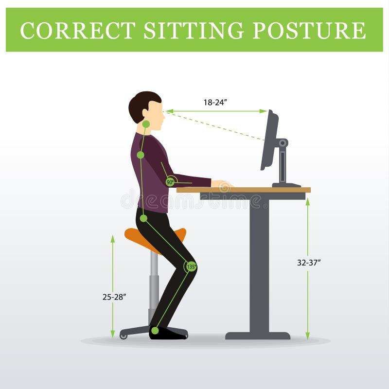 ergonómico Silla que se sienta de la silla de montar y tabla ajustable de la altura libre illustration