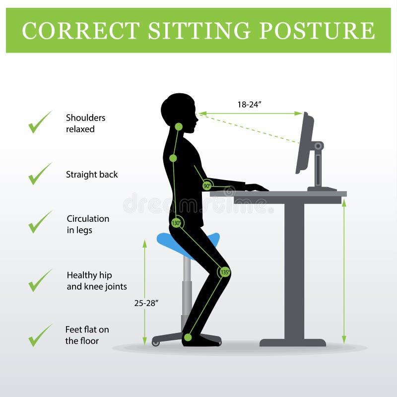 ergonómico Silla que se sienta de la silla de montar y tabla ajustable de la altura ilustración del vector