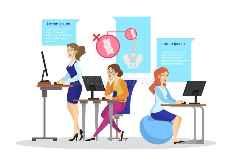 Ergonomi av arbetsplatsbegreppet Kroppställing för tillbaka stock illustrationer