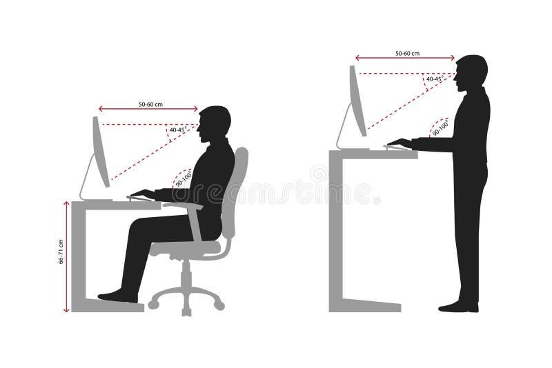 Ergonomi på den svartvita arbetsplatsen royaltyfri illustrationer