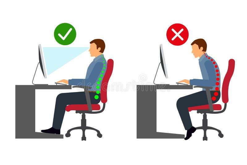 Ergonomi på korrekt sittande ställing för arbetsplatsman vektor illustrationer