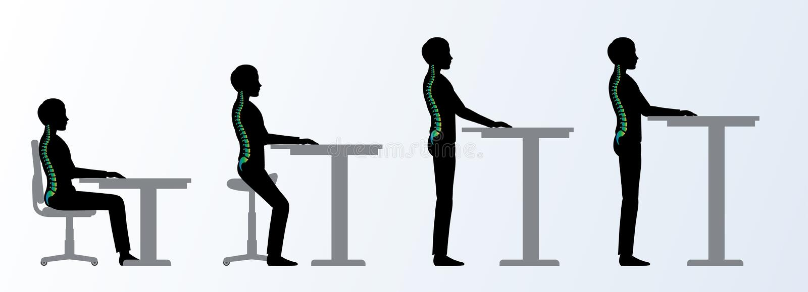 Ergonomic. Height adjustable desk or table poses. Ergonomic. Height adjustable desk or table sitting and standing pose of a man. Saddle chair vector illustration