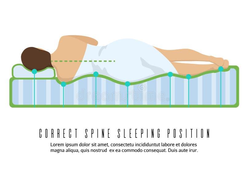 Ergonomic ortopedyczna materac wektoru ilustracja Poprawna kręgosłupa dosypiania pozycja ilustracja wektor