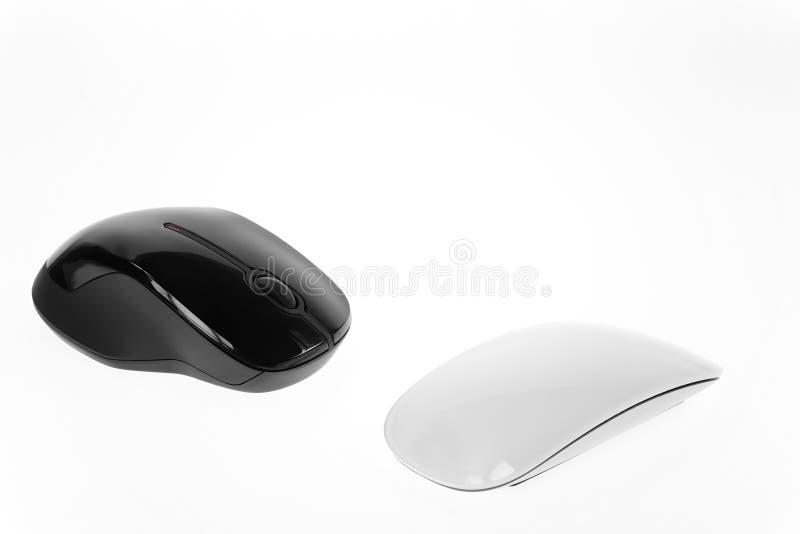 Ergonomic or Stylish Mice. Black and white mice as ergonomic or stylish royalty free stock images