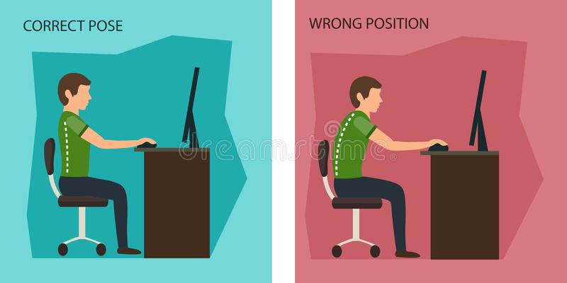 Ergonomic. Wrong and Correct Sitting Posture. Healthy Back and Posture Correction. Office Desk Posture. Curvature of Spine with Wrong Sitting. Good Position vector illustration