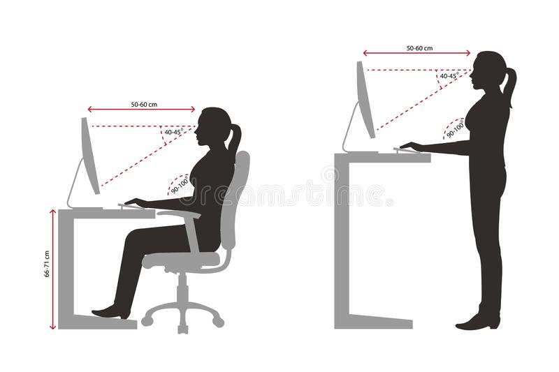 Ergonomics silhouette of a woman correct sitting and standing posture when using a computer. Concept of correct sitting and standing posture stock illustration