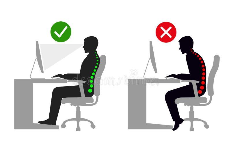 Ergonomie an der korrekten sitzenden Lage des Arbeitsplatzmannes Schwarzweiss lizenzfreie abbildung