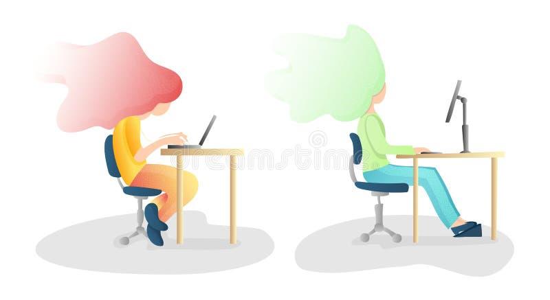 Ergonomique, mal et posture se reposante correcte d'épine Illustration saine de correction de dos et de posture concept pour des  illustration stock