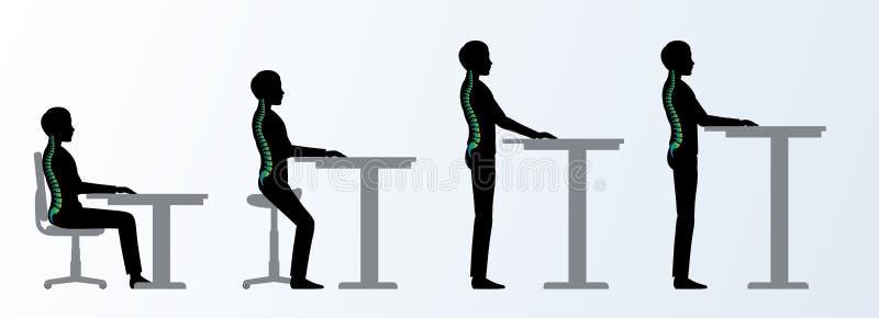 ergonomisch Stellen de het hoogte regelbare bureau of lijst vector illustratie