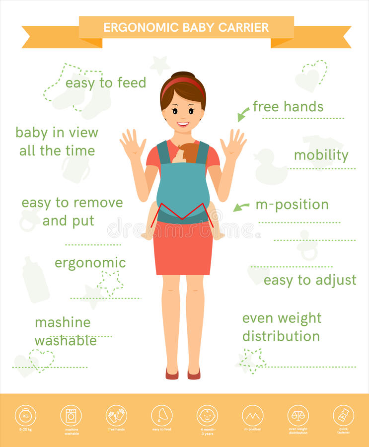 Ergonomische babydrager royalty-vrije illustratie