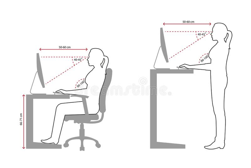 Ergonomisches Federzeichnung eines korrekten Sitzens der Frau und der stehenden Lage, wenn ein Computer verwendet wird vektor abbildung