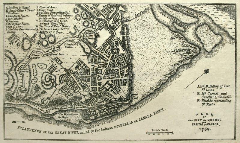 Ergreifen Sie Karte von Quebec City, 1759. lizenzfreie stockbilder