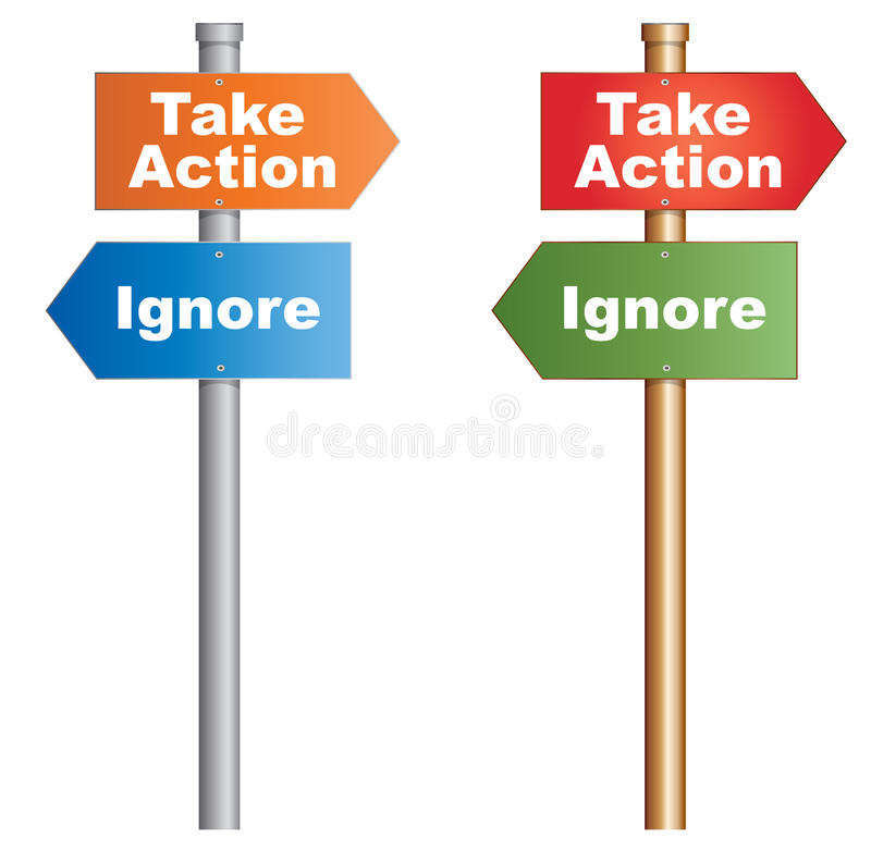 Ergreifen Sie Maßnahmen ignorieren lizenzfreie abbildung