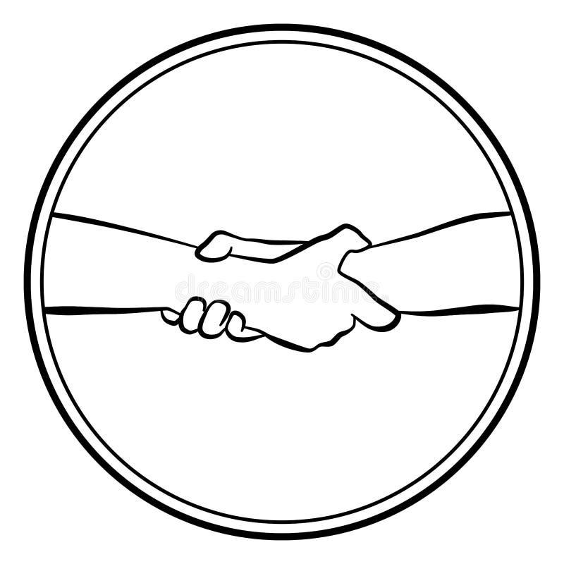 Ergreifende Handreichungs-rundes Logo lizenzfreie abbildung