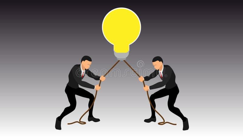 Ergreifung einer riesigen Birne durch zwei Leute der abschließende Kampf von Geschäftsmännern, kämpfend über glänzenden Ideen Vek lizenzfreie abbildung