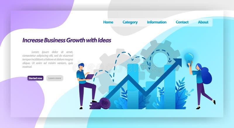 Erhöhen Sie Geschäftswachstum mit Idee Finanzdiagramm, zum des Firmenwertes und -geschäftserfahrung zu erhöhen Vektorillustration lizenzfreie abbildung