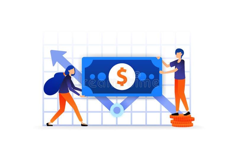 Erhöhen Sie Investition und Finanzierung Diagramm auf dem Geschäft, zum nach des Gewinns in der Börsewährung zu suchen Vektorillu lizenzfreie abbildung