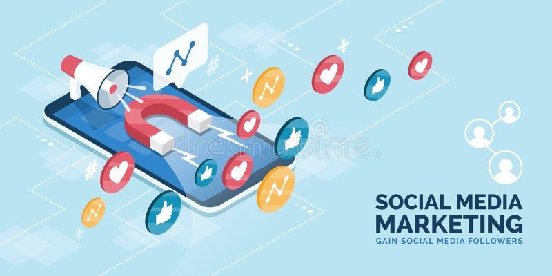 Erhöhen Sie Nachfolger und Gleiche auf Social Media lizenzfreie abbildung