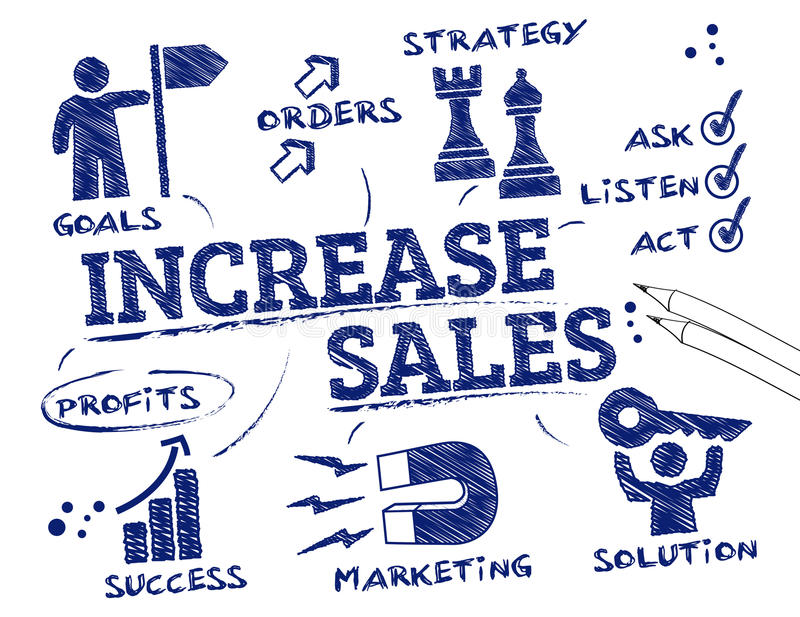 Erhöhen Sie Verkaufskonzept lizenzfreie abbildung