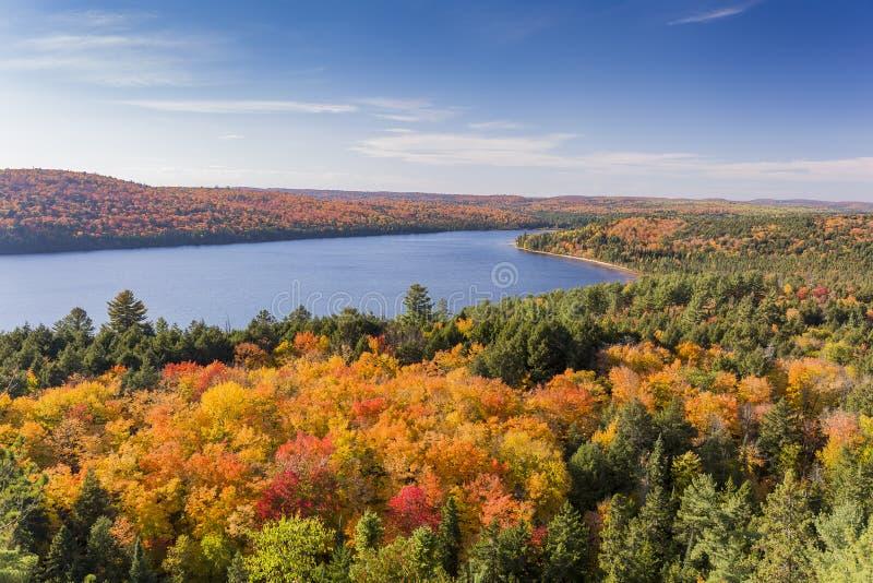 Erhöhte Ansicht von See und von Herbstlaub - Ontario, Kanada stockfotografie