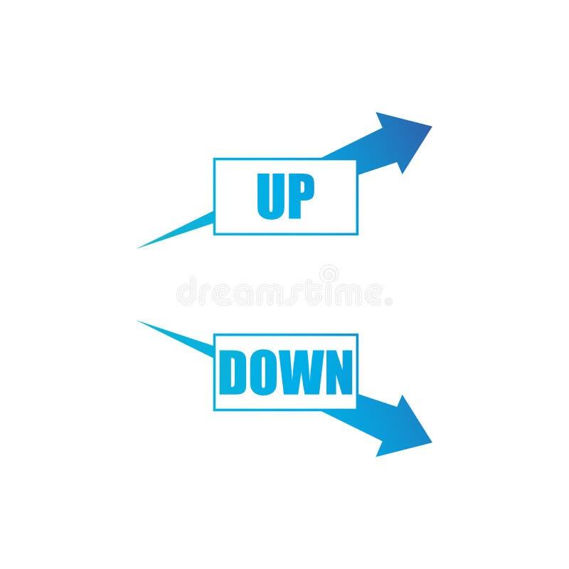 Erhöhung und abnehmender Pfeilsatz blaues Pfeilshowwachstum und Rezessionsgeschäft Flache Vektordiagramm-Konzeptillustration als vektor abbildung