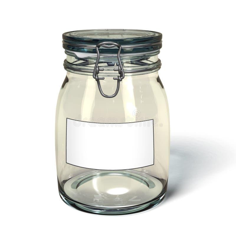 Erhalt des Glases mit unbelegtem Kennsatz. stock abbildung
