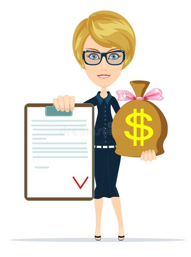 Erhalten Sie Geld für Vertrag lizenzfreie abbildung