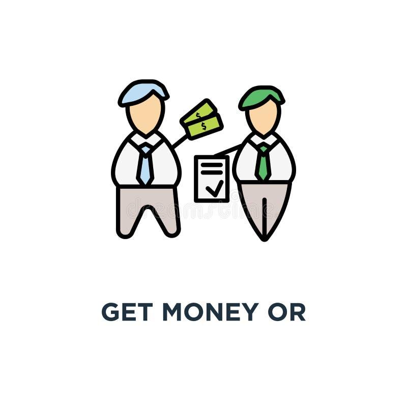 erhalten Sie Geld, oder Investition für Vertragsikone, machen ein Abkommen, Geschäftsschablone, Vereinbarung, Geschäftsleute schl stock abbildung