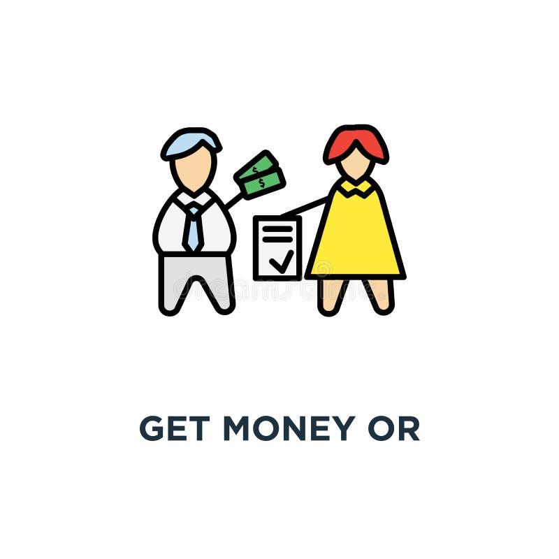 erhalten Sie Geld oder Investition für Vertragsikone, machen Sie ein Abkommen, Geschäftsschablone, Vereinbarung, Geschäftsleute ( stock abbildung