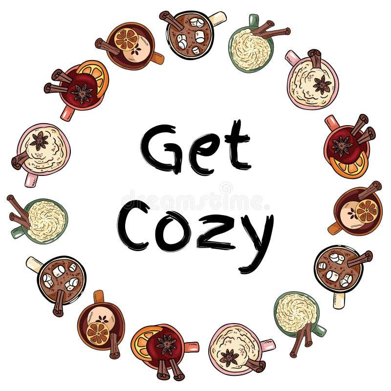Erhalten Sie gemütlichen dekorativen Kranz von Schalen leckeren Getränken Verzieren nette Kaffee-, Kakao- und Glühweingetränke Ha stock abbildung