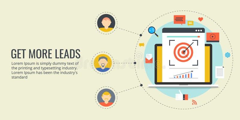 Erhalten Sie mehr Führungen - on-line-Führungsgenerationsprozeß Flache Designmarketing-Fahne stock abbildung