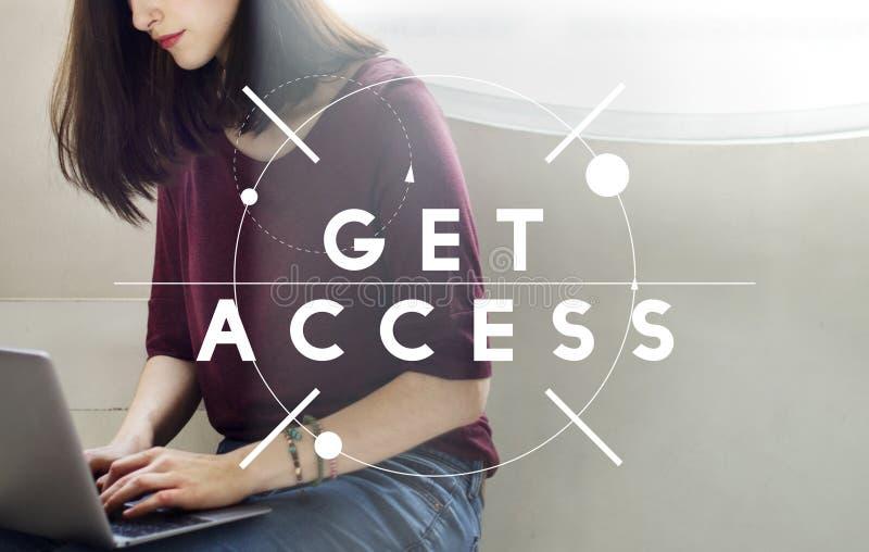 Erhalten Sie Zugangs-Social Media erreichbares verfügbares Konzept lizenzfreies stockfoto